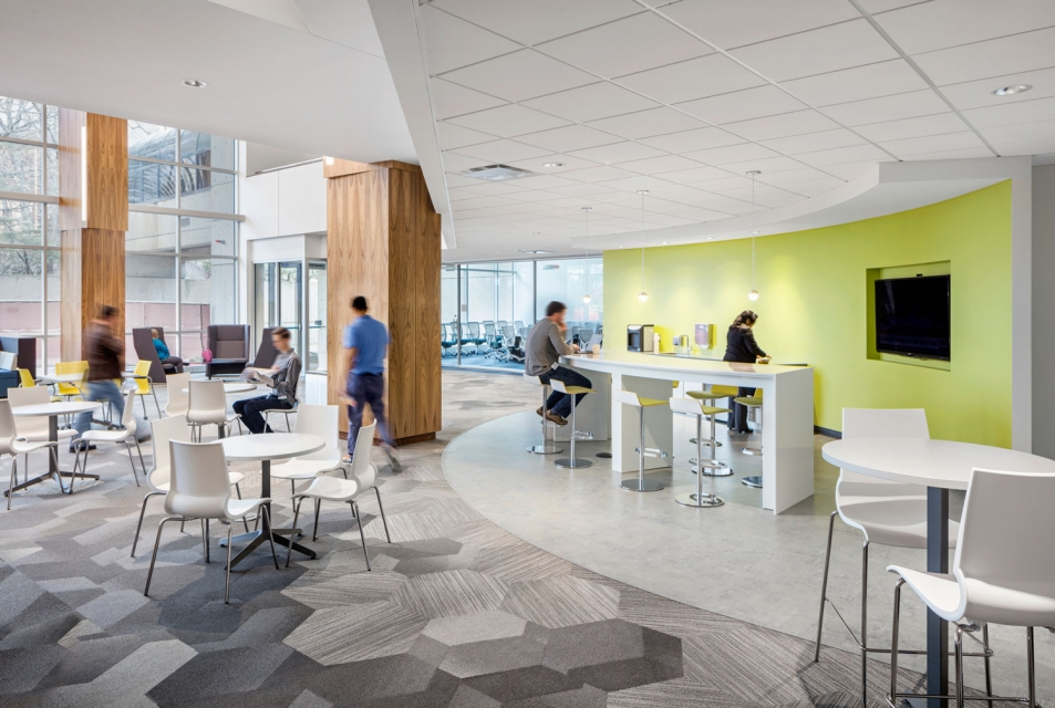 SMMA designed GE Healthcare Life Science Cafe with Daylighting
