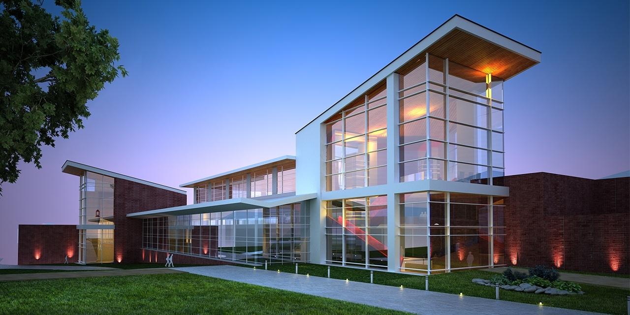 Exterior Rendering of College Student Center